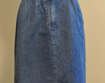 Vintage High Waisted small/medium Pencil Jean Skirt