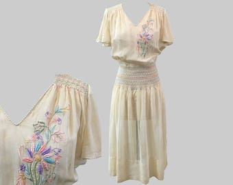 1920s Embroidered Smocked Cotton Peasant Dress
