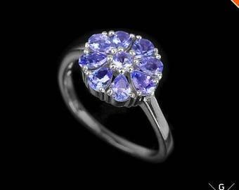 Tanzanite Ring. Cornflower stone Ring! Genuine Natural Top Blue Tanzanite 925 Sterling Silver Gemstone jewelry Ring 7.75 see VIDEO