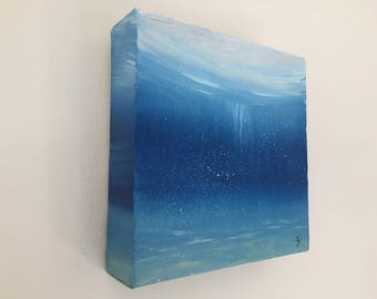 Underwater Art, Small Blue Sea Painting, Nautical Decor, Turquoise Original Oil Painting on Canvas, Ocean Art, Contemporary Painting