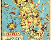 1930's Vintage Florida Picture Map State Cartoon Map Print Childrens Room Decor Map Collector Gift for Traveler Wedding Birthday RT