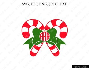 Candy Christmas Monogram SVG, Candy Cane Monogram Svg, Christmas Clip Art, Christmas SVG, Candy Monogram svg, Cricut, Silhouette Cut File