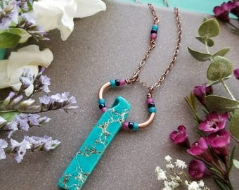 Turquoise Jasper Loop Necklace in Copper >> Sea Sediment Jasper with Teal, Navy, and Fuchsia Accents >> Boho Style, Gemstone Jewelry