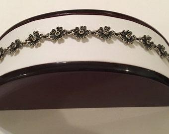 Vintage Sterling Silver 925 Marcasite Flower Floral Link Panel Bracelet