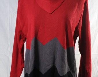 Vintage red grey back knit jumper