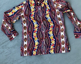 Vintage 70s Paisley Blouse // Primary Colors Paisley Top