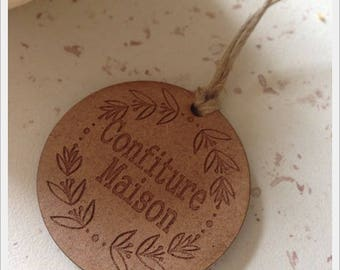 Set of 25 tags in wood with writing * jam House * D4cm