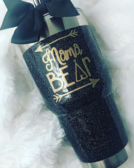 Glitter Yeti Rambler in Black -  with Lid & Bow!