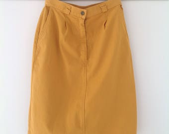 80's skirt, vintage skirt, yellow skirt, pencil skirt, cotton skirt, summer skirt, ladies skirt, knee length skirt, Women's  80's clothing