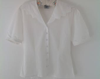 80's blouse, Laura Ashley blouse, vintage blouse, Edwardian style, white blouse, shawl collar, cotton blouse, ladies blouse, vintage shirt