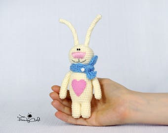Stuffed bunny with heart Valentines gift for girl Plush bunny rabbit Girlfriend gift For her Stuffed animal Valentines day gift Woodland toy