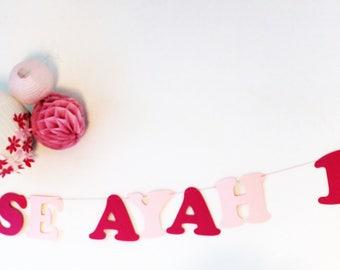 Guirlande de princesse + prénom + age + 2 couronnes en papier sur cordon en coton enduit