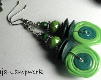 Green earrings with hand-crafted glass beads, Lampwork