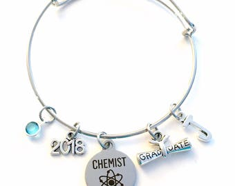 Graduation Gift for Chemistry Grad 2017 2018 Charm Bracelet, Chemist Science Student Silver Bangle custom initial birthstone women her woman
