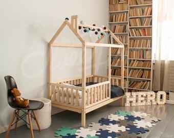Frame bed full double house bed bed house montessori - Letto montessori casetta ...