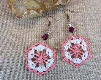 Crocheted purple Agate earrings, earrings textile earrings, crochet textile jewelry, flower metal bead