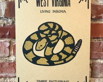 WV Living Insignia Letterpress Print - Timber Rattlesnake
