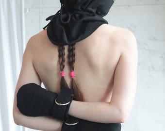 Black Bondage Hood - Straitjacket Heavy Duty BDSM Mask
