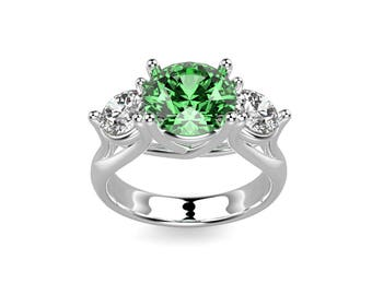 White Gold Emerald Engagement Ring White Gold Engagement Ring Emerald Ring 14k Emerald Engagement Ring Emerald in White Gold