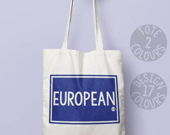 European cotton tote bag, gift ideas for women, feminist, brexit protest, wanderlust european feminist, asylum seeker, womens rights, rights