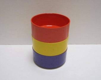 3 Melamine Bowls Heller Stackable Bowl Plastic Vintage Melamine Dinnerware Massimo Vignelli Italy Design Retro Mid Century Modern Kitchen