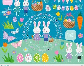 Easter bunny digital clipart, Easter rabbit clipart, Easter Eggs, Easter bunnies, Spring flowers and butterflies, Vector Download Clip Art