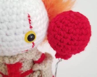 "Amigurumi Pennywise ""IT"" Inspired Crochet Doll"