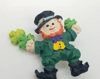 Old Stock Resin Dancing Leprechaun Lapel Pin / Brooch - St. Patrick's Day Jewelry