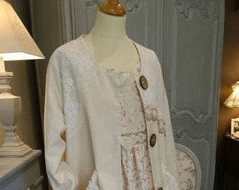 AMELIA coat BEIGE romantic, Victorian, chabby chic, Bohemian, hippie Gypsy