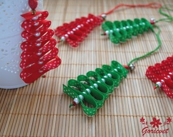 Christmas ornaments Christmas tree Ribbon decoration Red Green polka dots decoration Christmas decor Ribbon ornaments Xmas gift for friends