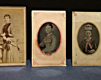 Victorian CDV / Cabinet Cards - Women Portraits - Set of 3