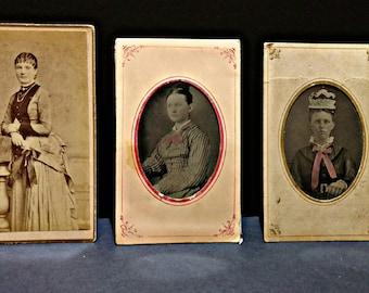 SALE Victorian CDV / Cabinet Cards - Women Portraits - Set of 3