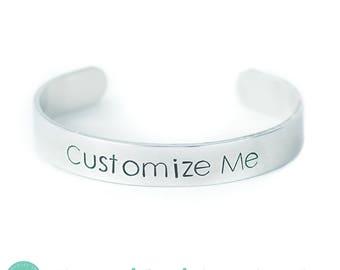 On Sale! Personalized Hand Stamped Bracelet Best Friend Bracelet Inspirational Cuff Motivational Bracelet Quote Custom Bracelet Gift for Mom