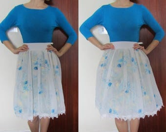 Floral Sheer Elasticated Waist Skirt Vintage 50s Style