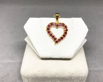 18k Yellow Gold Natural Ruby (0.79 ct in total) Pendant, Appraised 740 USD