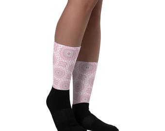 Pink and Black Socks for Women, Pink and Gray Flowery Patterned Crew Socks, Ribbed Printed Socks