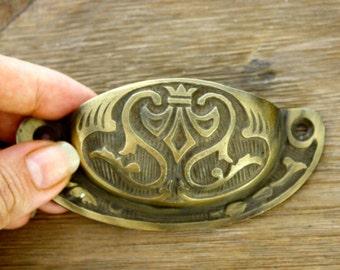 Antique Brass Drawer Pull, Door Cabinet Hardware, Indonesian, Scrapbooking