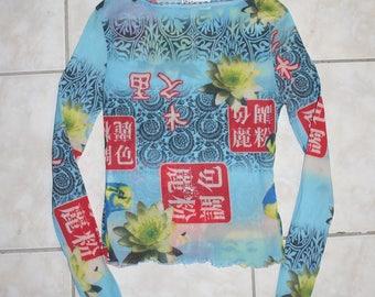 90s Sheer Mesh Digital Print Chinese Script Blue Yellow Floral Lotus Long Sleeve Top