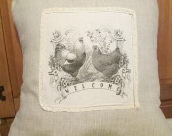 Farmhouse  Chickens linen pillow