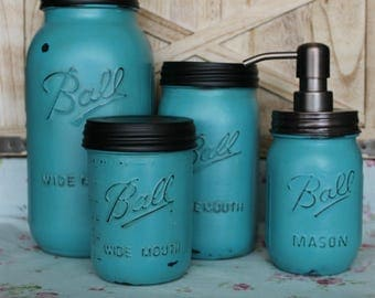 Antiqued Turquoise Mason Jar Canisters - Kitchen Canisters - Mason Jar Kitchen - Turquoise Kitchen - Rustic Gift - Wedding Gift