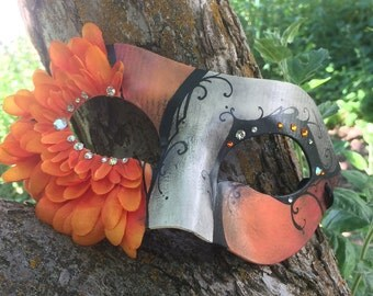 Orange and White, Hand-Painted Mask, Masquerade, Festival Mask, Costume, Crystal, Petal Mask, Half-Mask