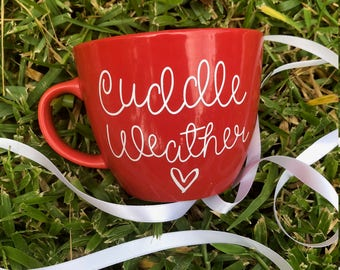 16 oz Stoneware Coffee Mug,cuddle weather,Sweater Weather mug,winter mug, holiday mug, winter mug, winter coffee mug, cuddle coffee mug
