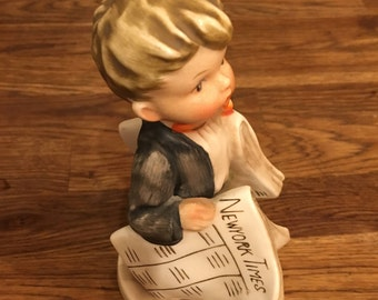 Vintage New York Times Newsboy #AH1B Figurine - Hummel Like - but made in Japan, probably in the 1960s