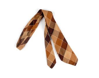 Vintage 30s Tie - 30s Necktie - 30s Cravat - 30s Plaid Tie - Habands Dundee Tie - Brown Tan Tie - Brown Plaid Tie - 40s Tie - 40s Necktie