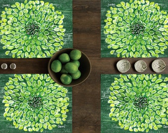 FREE SHIPPING! Flower Placemats, set of 4, Bright green and cheerful