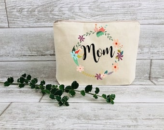 Mom Gift - Mom Gift From Daughter - Floral Makeup Bag - Best Mom Ever Bag - Mothers Day Gift - Birthday Gift For Mom - Mother of The Bride