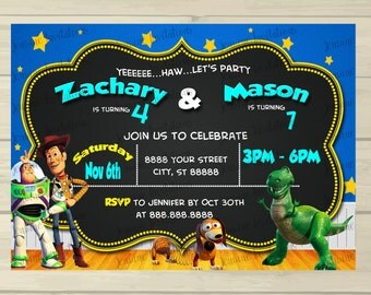 Toy Story Birthday Invitations, Printed, 5x7, Printed or Digital Download *FREE SHIPPING