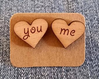 Valentine Love Laser Cut Wooden Earrings