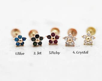 14K Flower Labret Piercing/Cartilage earring/Tragus earring/Helix piercing/Tragus piercing/Rook piercing/Flat back/Earring/Piercing/Tragus