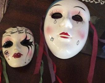PORCELAIN  MASKS, Mardi Gras, 2, signed,Vintage, Handpainted,